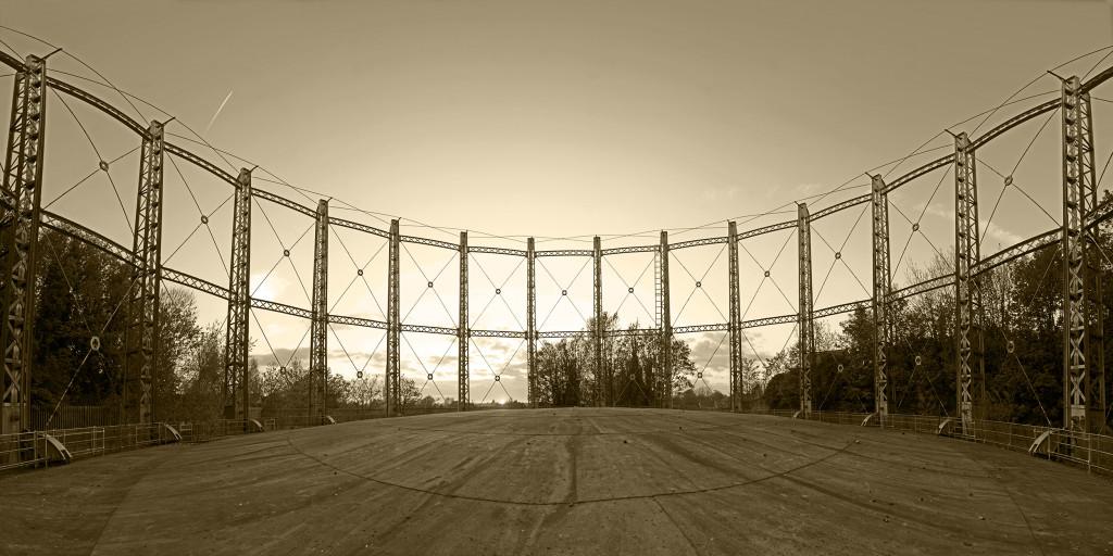 2013.05.05 - Gas Hill Norwich - Gas Tank - Panorama - Sepia