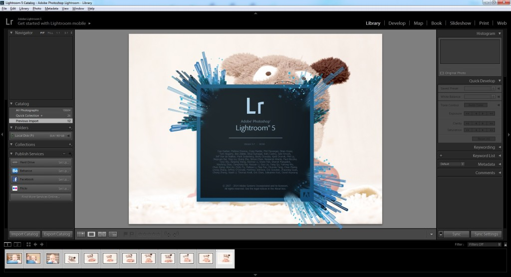 lightroom - original splash screen